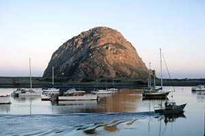 morro bay harbor with morro rock