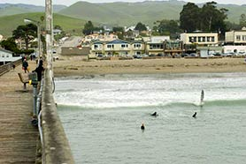 surfing cayucos beach